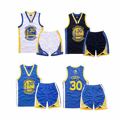 Steph Stephen Curry #30 Kids Boys Youth Basketball Jersey Set Golden State