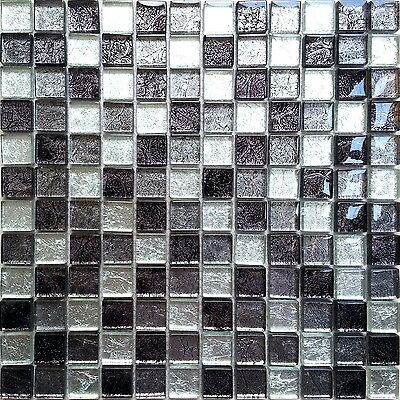 Black And Silver Glass Random Mixed Bathroom Kitchen Mosaic Tiles CHOICE MT0004