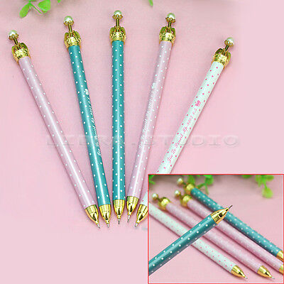 5x Cute Polka Dot Pearl Propelling Crown Mechanical Automatic Pencil Stationary