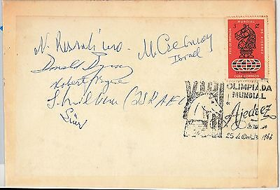 POSTAL HISTORY: COVER signed by 5 chess players 1966 - Czerniak Rossolimo Byrne