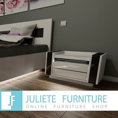 Bedside Table Night Stand__BLACK /WHITE High Gloss LED__Cabinet Storage Cupboard