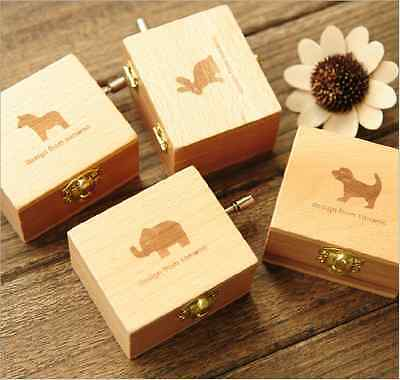 Wooden Hand Crank Music/Musical Box with Animal Design