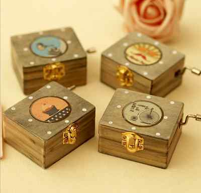 Wooden Hand Crank Music/Musical Box with Retro Image