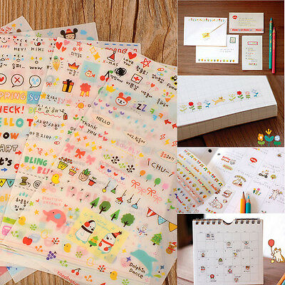 Cute Lovely 6 Sheet Paper Stickers for Diary Scrapbook Phone Decor Skin DIY