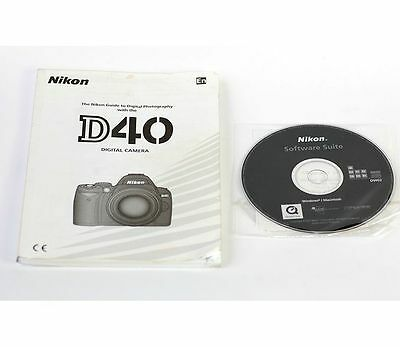 User Manual for Nikon D40 Camera w/Quick Start Guide CD Disc Software