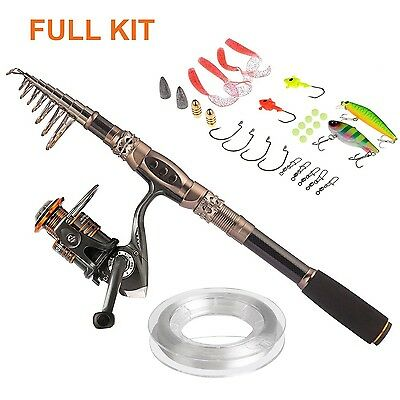Plusinno Spin Spinning Rod and Reel Combos Carbon Telescopic Fishing Rod with...