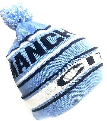 Manchester City Bobble at Sky Blue An White Thicker Warmer Than The Average Hats