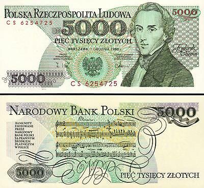 1988 Poland 5000 Zloty Banknote-Uncirculated Condition-Chopin