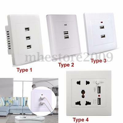 New USB Wall Socket Charger AC/DC Home Power Adapter Plug in Outlet Plate Panel