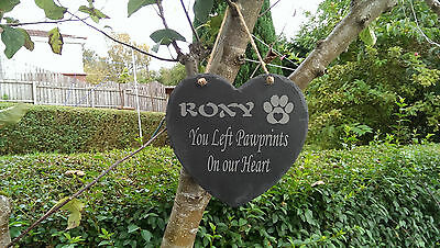 Personalised Engraved Slate Stone Heart Pet Memorial Grave Marker Plaque Dog m