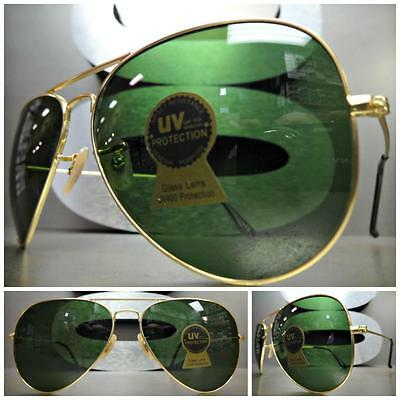 CLASSIC VINTAGE RETRO Style SUNGLASSES SHADES Matte Gold Frame Green Glass Lens