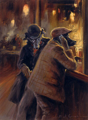 """LURCHER POACHERS DOG LIMITED EDITION PRINT - """"The Pickpocket"""" by Mick Cawston"""