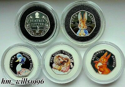 2016 50p Fifty Pence Beatrix Potter Peter Rabbit Silver Proof FULL SET 5 coin