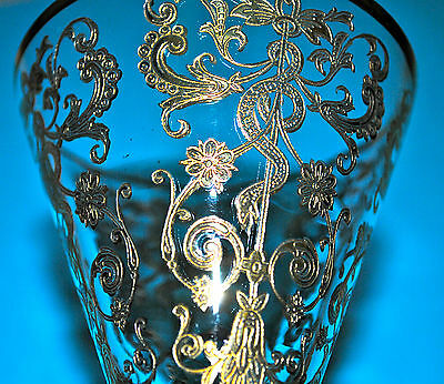 Exquisite Antique French 6 Pc Etched & Gilded Crystal Glass Stemware Serpent