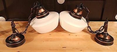 Pair of Vintage Japanned Copper Hanging Light Fixtures w/ Milk Glass Globes