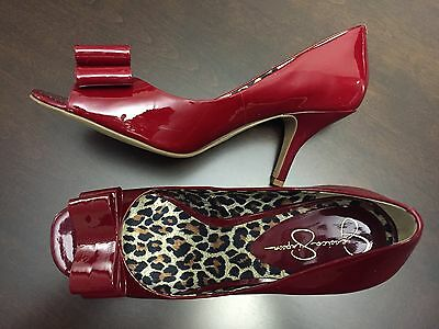JESSICA SIMPSON Women's Ladies Red Leather High Heels Open Toe Shoes Size 9 B