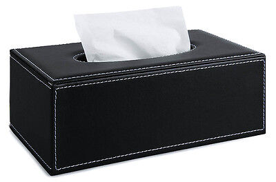 Black Square Leather Tissue Box Papers Cover Holder Case Home Room Office Decor
