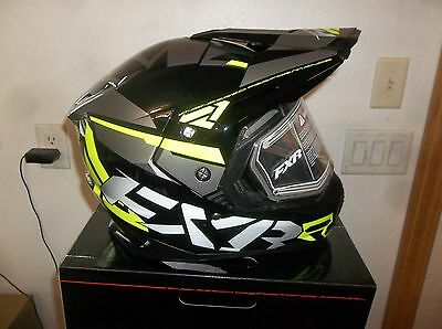 New Men's Fxr Fx-1 Team Helmet With Electric Shield,gloss Black/hi-Vis Yellow,m