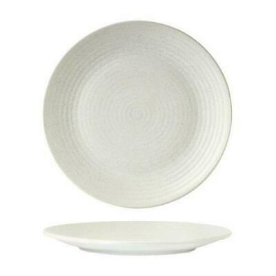 6x Coupe Plate, Ribbed, 265mm Zuma 'Frost' White Commercial Crockery / Cafe