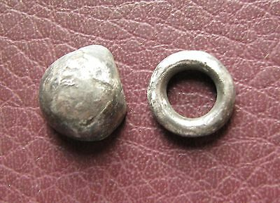 Ancient Lake Ladoga VIKING Artifact > 2 Silver Belt Decoration Fitting AA27-5