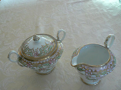 Vintage Japan Hand Painted White Porcelain Heavy Raised Gold Gilt Creamer/Sugar