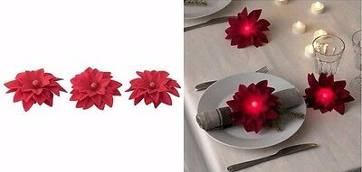 Ikea Strala 3 Pack Valentine's Red Led Table Decoration Flower Battery Operated
