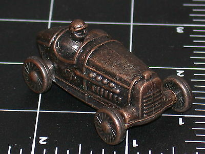 Brass or colored tin pewter vintage style Race Car old century 2003 toy display