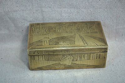 Exquisite Folk Art Etched Brass Box With Richly Detailed Ship Harbor Scene