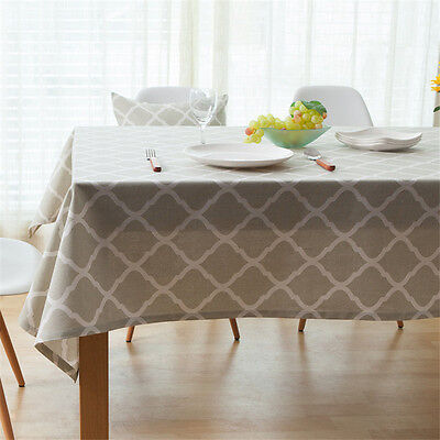 Simple Geometric Cotton Linen Table Cloth Home Decor Tablecloth Dustproof Cover