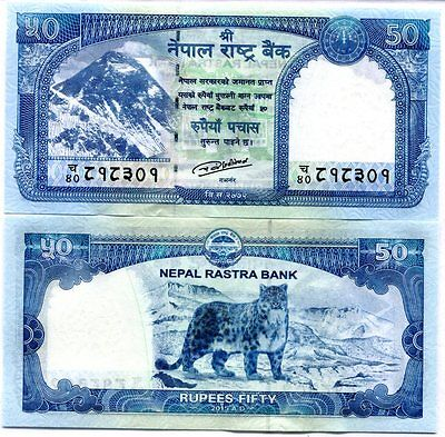 Nepal 50 Rupees 2015 / 2016 P New Snow Leopard At Back Unc