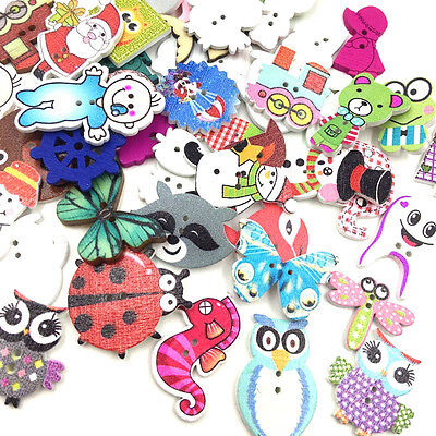 100x Mix 2 Holes Animals Pattern Cartoons Wood Sewing Buttons Scrapbooking WB379