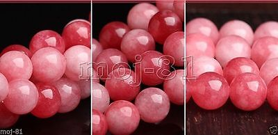 "8mm Natural Red Jadeite Jade Round Gemstone Loose Beads 15"" Strand AAA"
