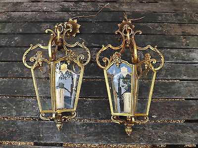 Antique Early 1900s French Matching Pair Of Gilt Bronze  Ceiling Lanterns
