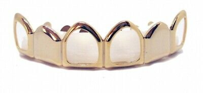 GRILLZ Gold Plated Top Row open & closed tooth Hiphop Bling Grillz
