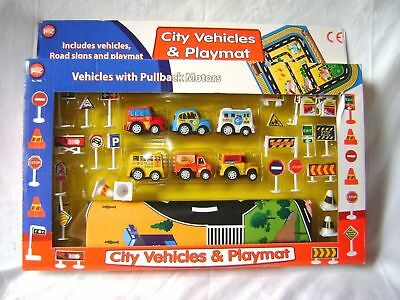 New City Vehicles & Play Mat Set Pull Back Cars Road Signs Giant Playmat Padg