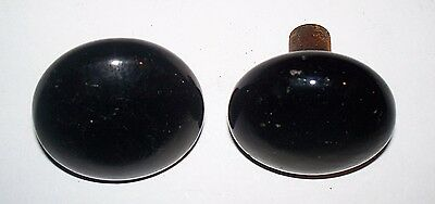 Antique Black Glass Porcelain Door Knobs Victorian Architectural Salvage 2-1/4