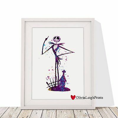 The Nightmare Before Christmas Jack Watercolour Art Print-Wall Art-Gift Poster