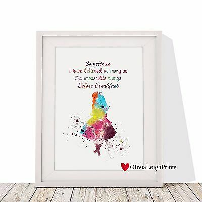 Alice In Wonderland Art Print-Wall Art-Gift-Nursery- Childrens Word Art Quote