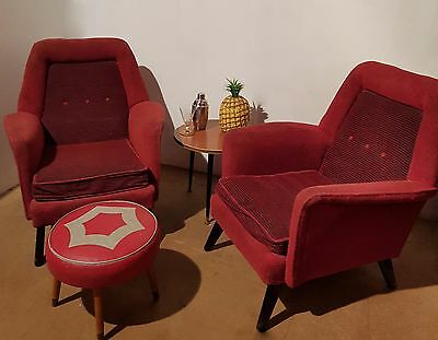 Pair of Original 1950s Armchairs Cocktail Chairs