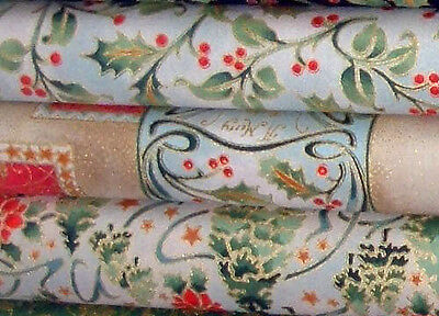 Christmas fat quarter x 3 craft fabric 100 % cotton - for quilting or sewing