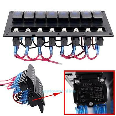 New 8 Gang LED Rocker Switch Panel & Circuit Breakers -Boat/Marine/RV/Helicopter