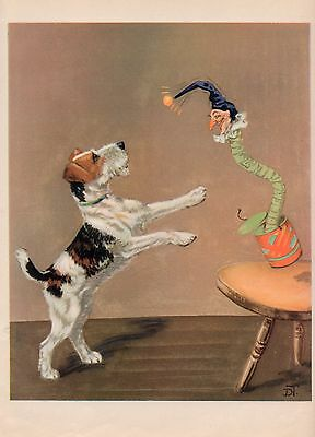 Wire Fox Terrier Lovely Old Vintage 1930's Diane Thorne Dog Bookplate Art Print