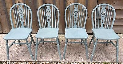 Set Of 4 Painted Kitchen Chairs- Duck Egg Blue- Wheelback