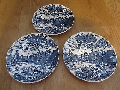 3 Blue & White Made in Japan Coffee Saucers #1149