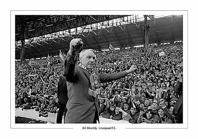 Bill Shankly Liverpool F.c  A4 Photo Print In Front Of Kop Legend