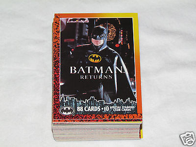 1992 BATMAN RETURNS Topps Complete Trading Card Set #1-88 No Stadium Cards