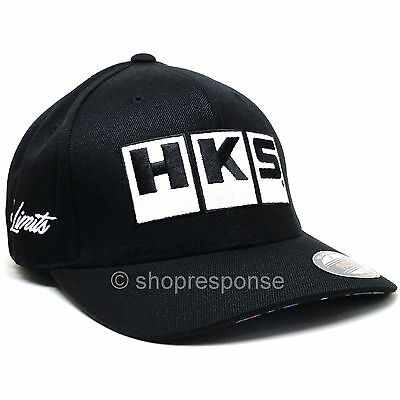 HKS No Limits Flex Fit Hat Cap Black w/White Embroidery Size S/M, L/XL Genuine