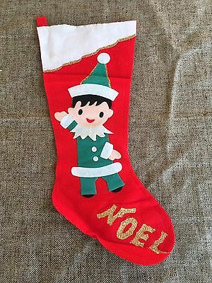 Vintage Appliqued Glittered Red Felt Christmas Stocking,NOEL Elf in Green Outfit