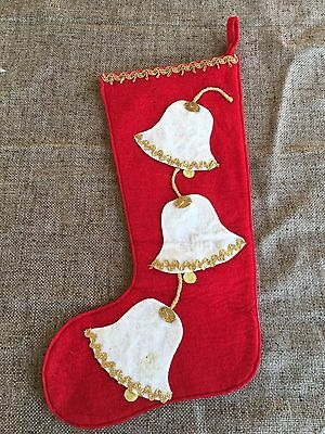 Vintage Red Felt Christmas Stocking- Bells Will Be Ringing, Applique,Gold Braid