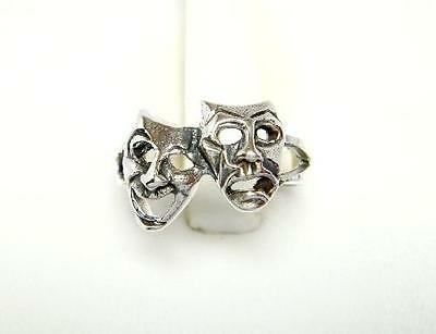 925 Sterling Silver Comedy Tragedy Drama Mask Adjustable Pinky Toe Ring